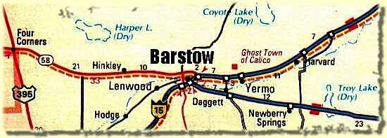 Map showing Barstow, CA